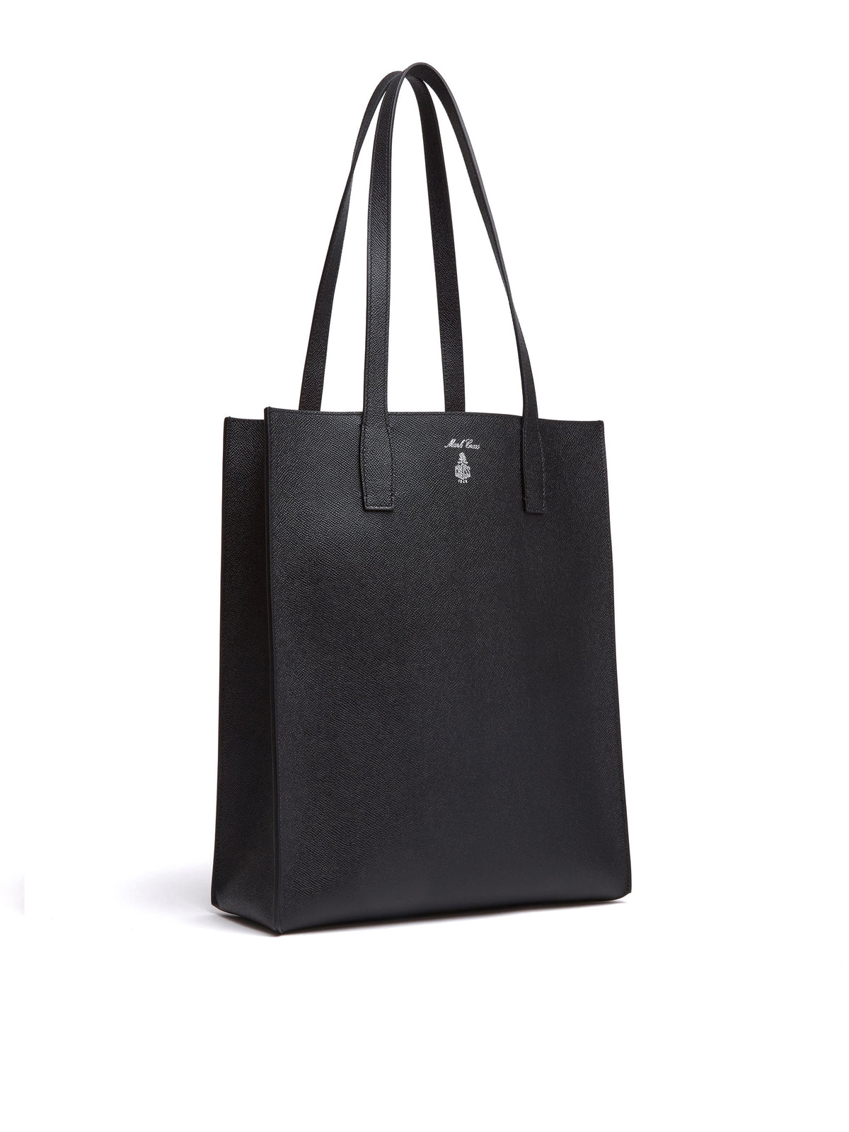 Mark Cross Fitzgerald North South Leather Tote Saffiano Black Side