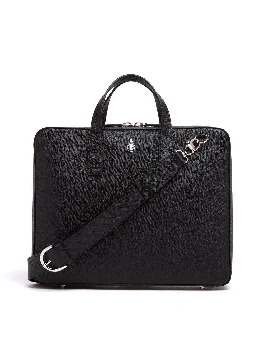 Mark Cross Parker Leather Briefcase Saffiano Black Front
