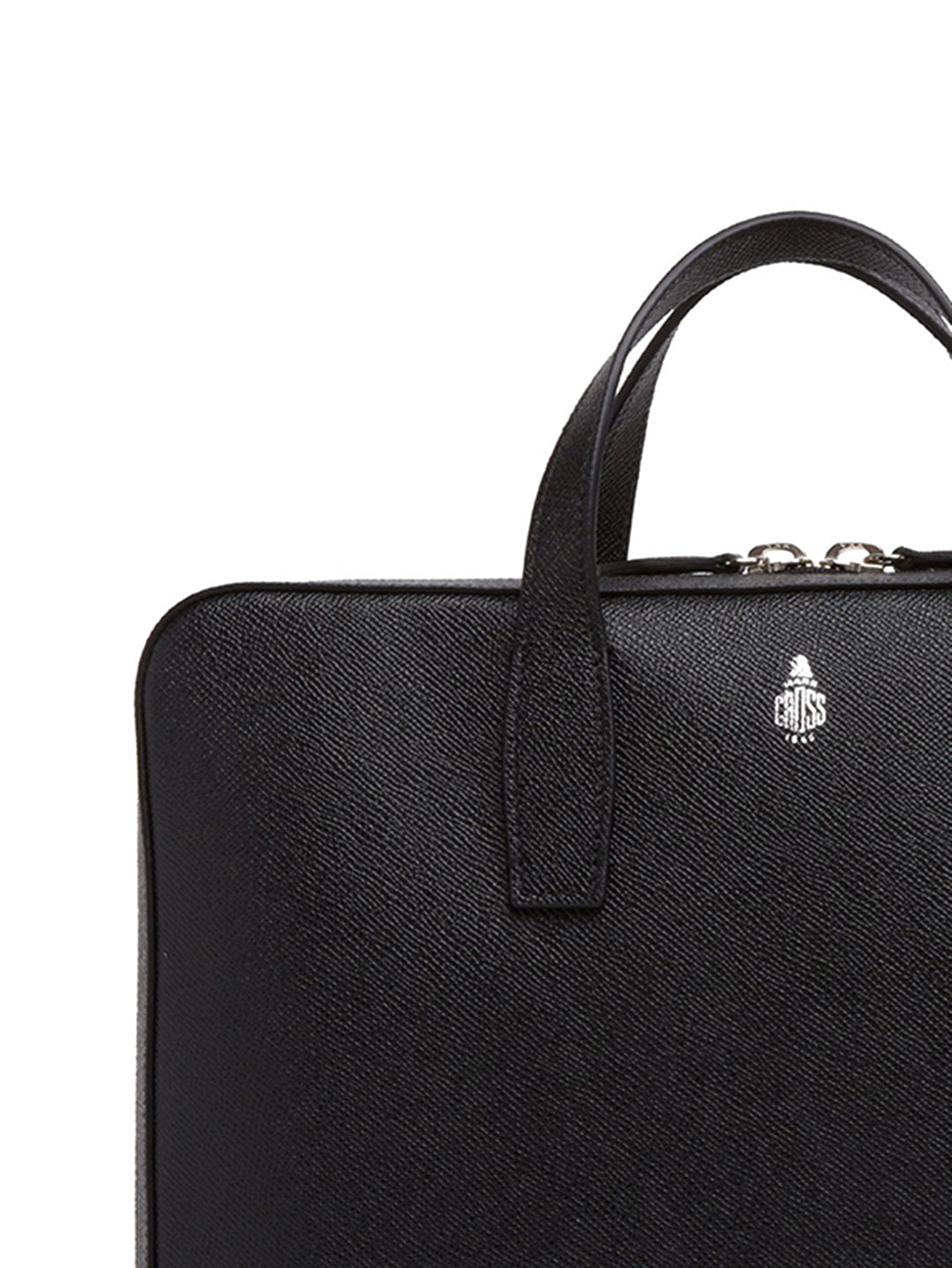 Mark Cross Parker Leather Briefcase Saffiano Black Detail