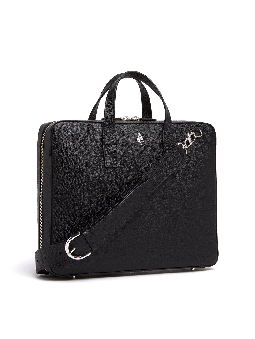 Mark Cross Parker Leather Briefcase Saffiano Black Side