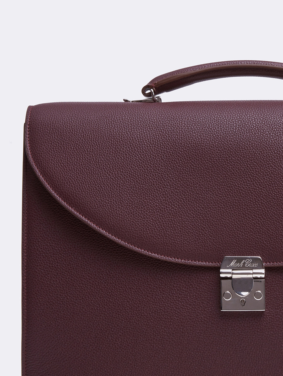 Mark Cross Maddox Leather Briefcase Tumbled Grain Bordeaux Detail