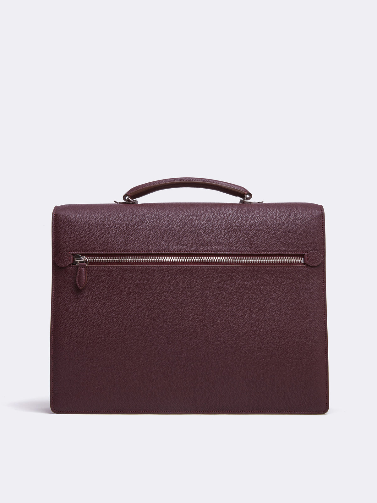 Mark Cross Maddox Leather Briefcase Tumbled Grain Bordeaux Back
