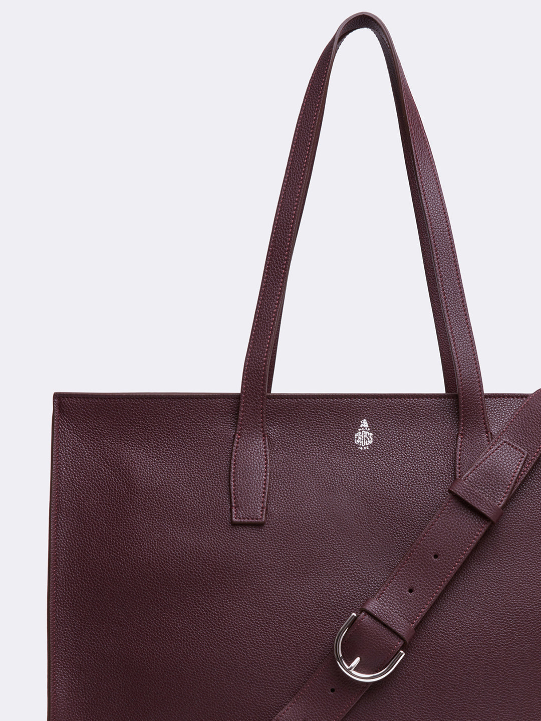 Mark Cross Fitzgerald East West Leather Tote Tumbled Grain Bordeaux Detail