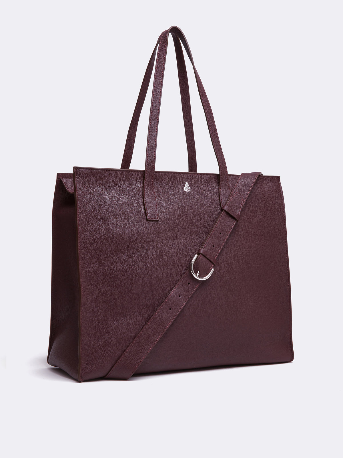 Mark Cross Fitzgerald East West Leather Tote Tumbled Grain Bordeaux Side