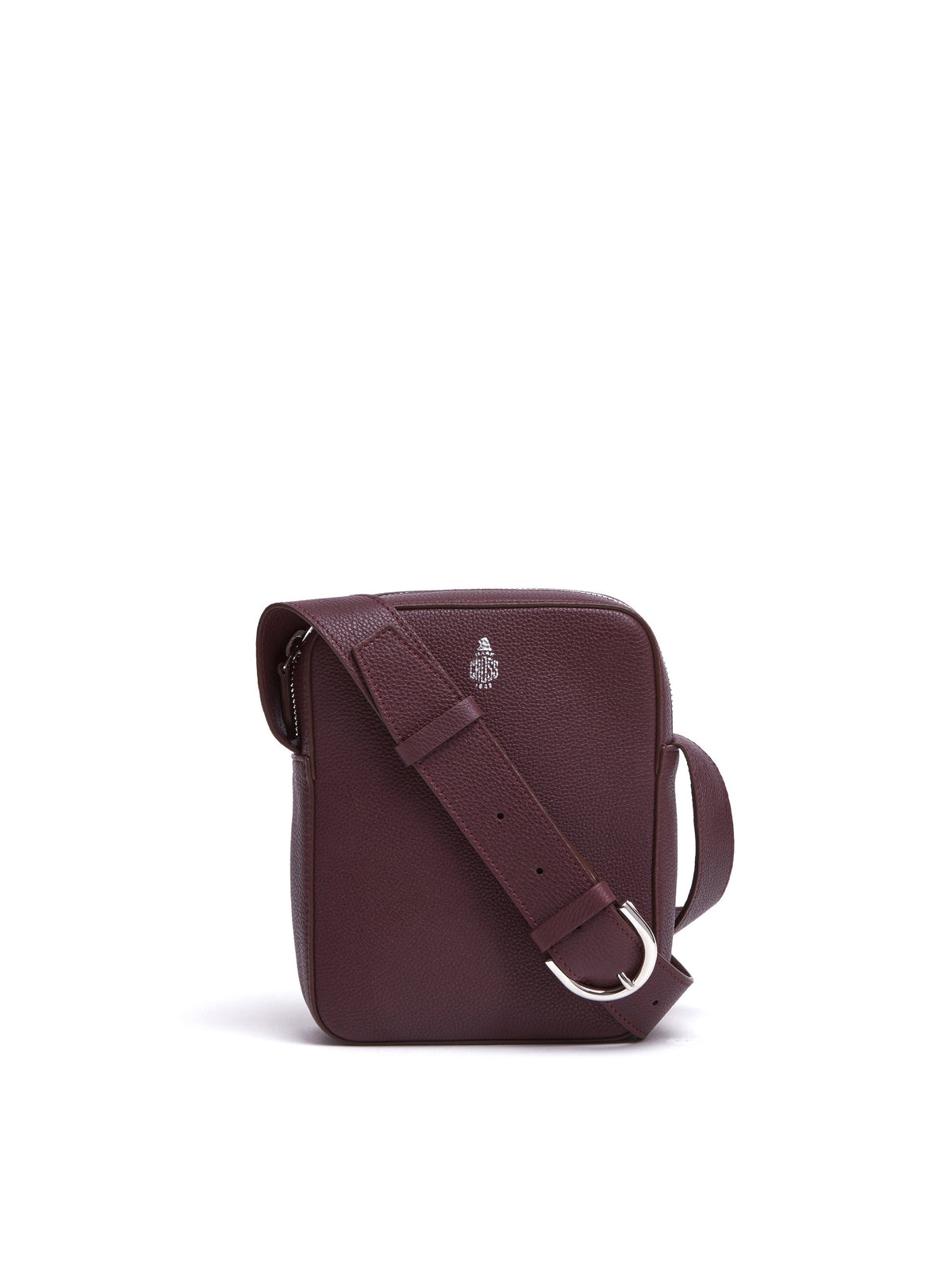 Mark Cross Baker Small Leather Crossbody Bag Tumbled Grain Bordeaux Front
