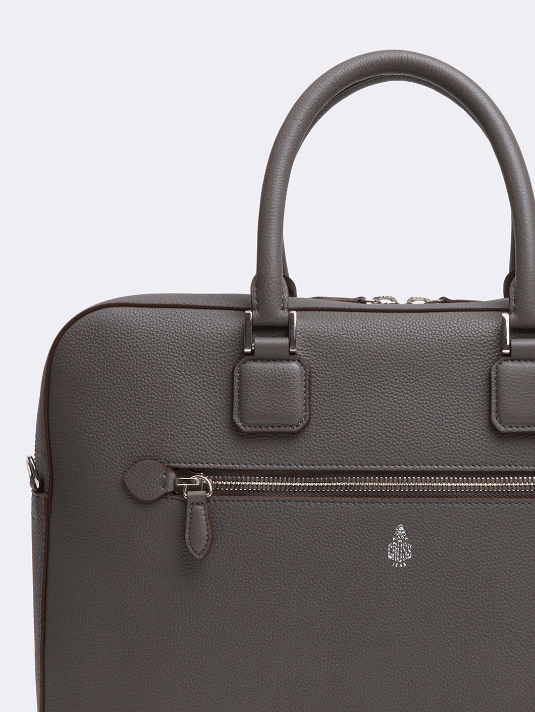 Mark Cross Double Handle Leather Briefcase Tumbled Grain Grey Detail