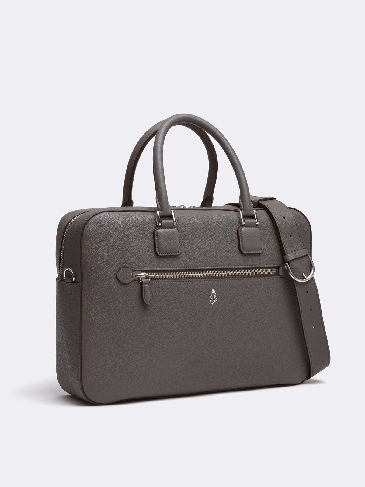 Mark Cross Double Handle Leather Briefcase Tumbled Grain Grey Side