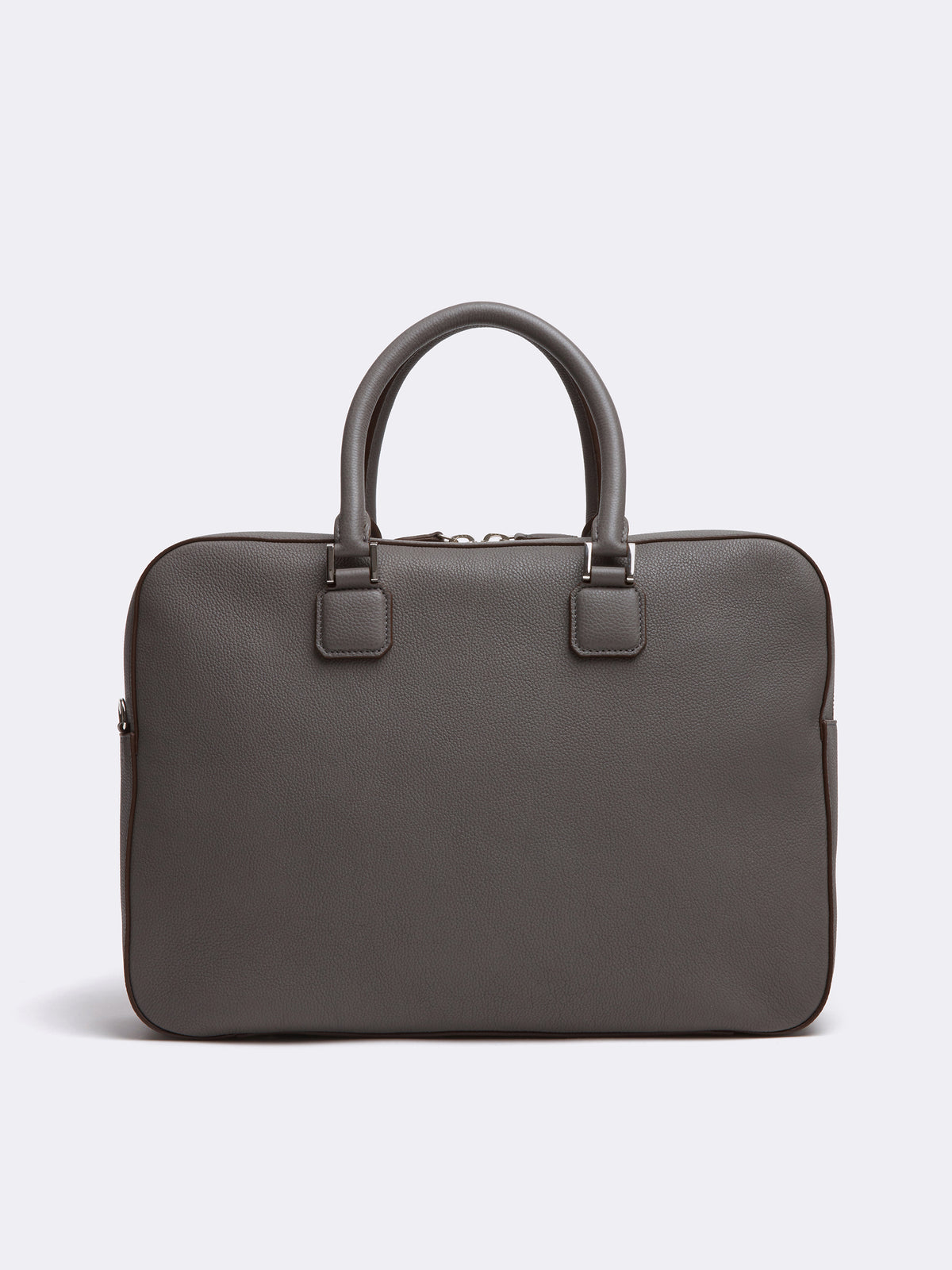 Mark Cross Double Handle Leather Briefcase Tumbled Grain Grey Back