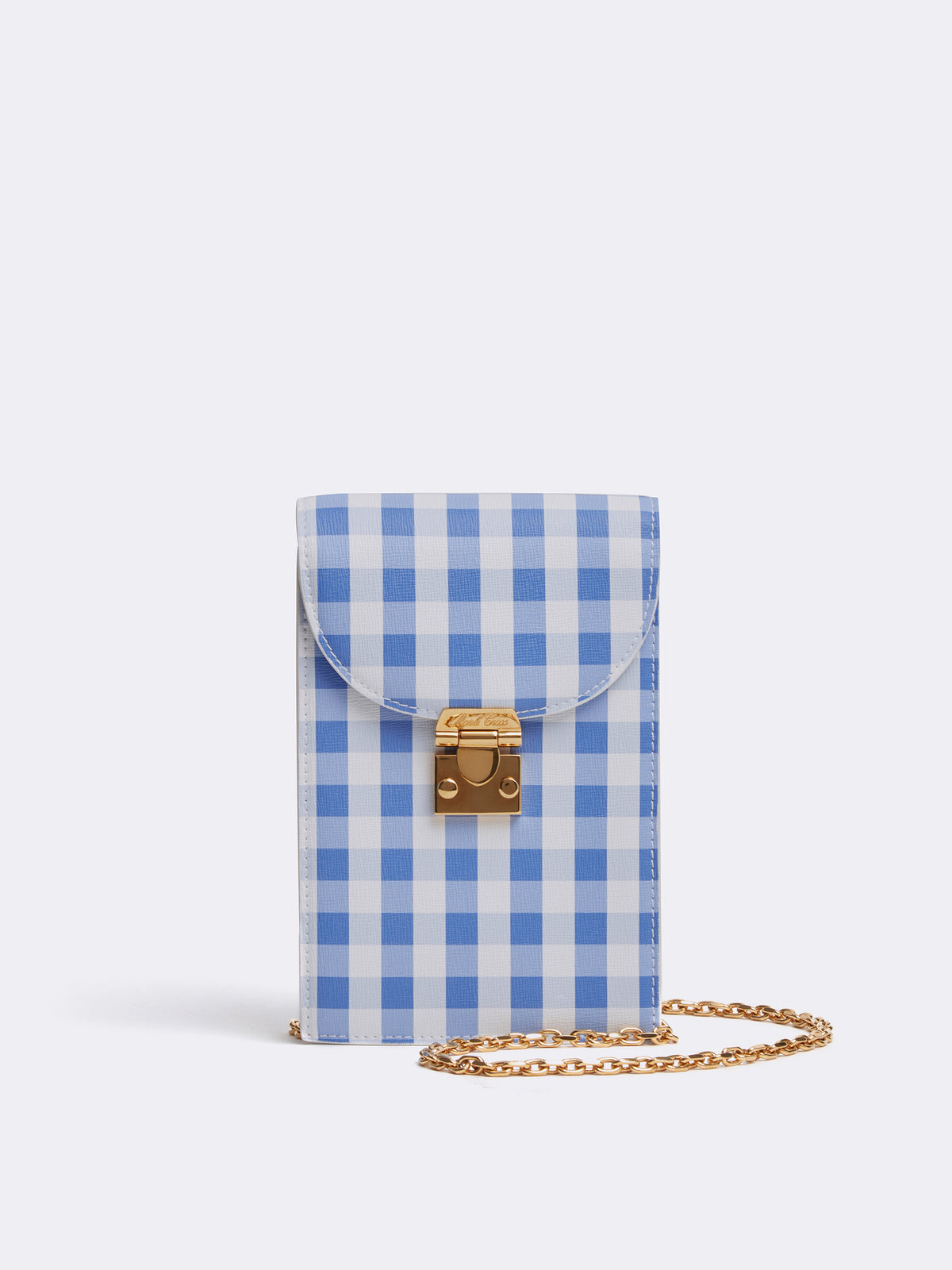 Mark Cross Francis Leather Cell Phone Bag Mini Franzi Gingham Regatta Blue Front