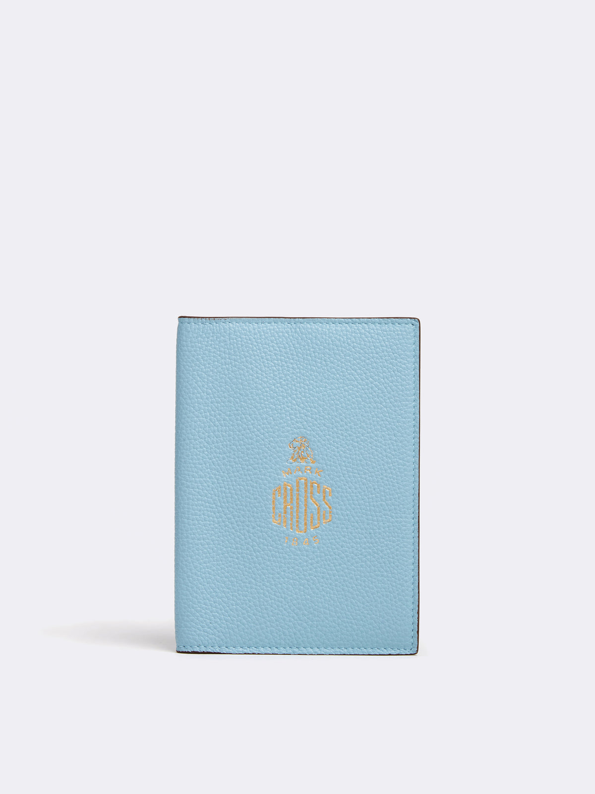 Mark Cross Leather Passport Wallet Tumbled Grain Powder Blue Front
