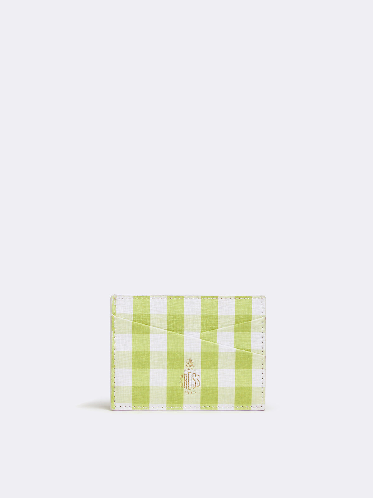 Mark Cross Leather Card Case Mini Franzi Gingham Citron Front