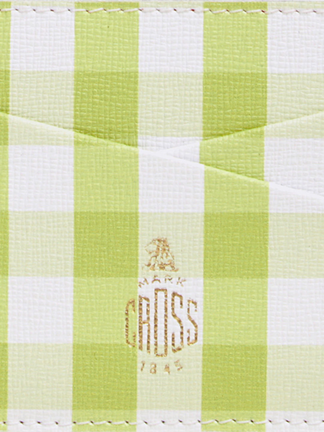 Mark Cross Leather Card Case Mini Franzi Gingham Citron Detail