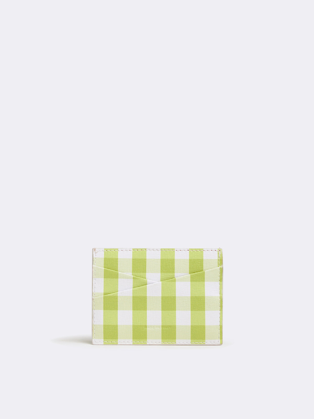 Mark Cross Leather Card Case Mini Franzi Gingham Citron Back