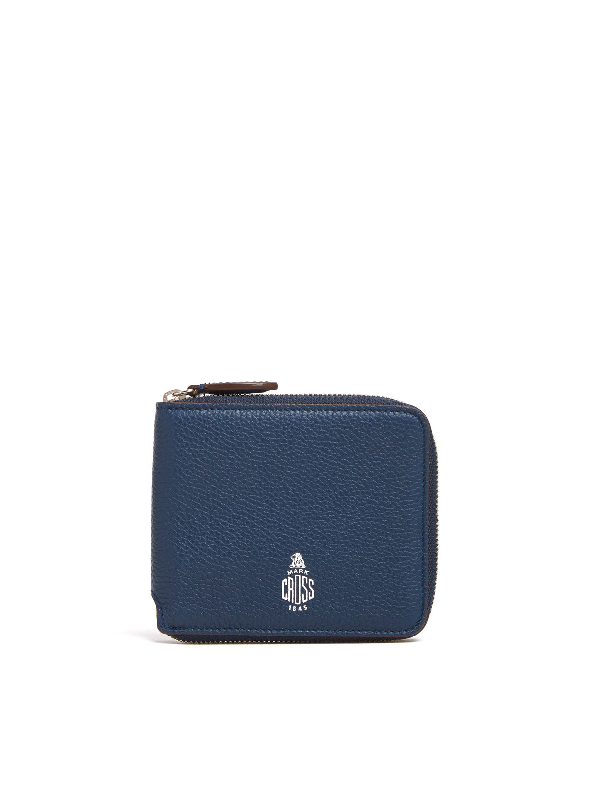 Mark Cross Bi-Fold Leather Zip Wallet Tumbled Grain Navy Front