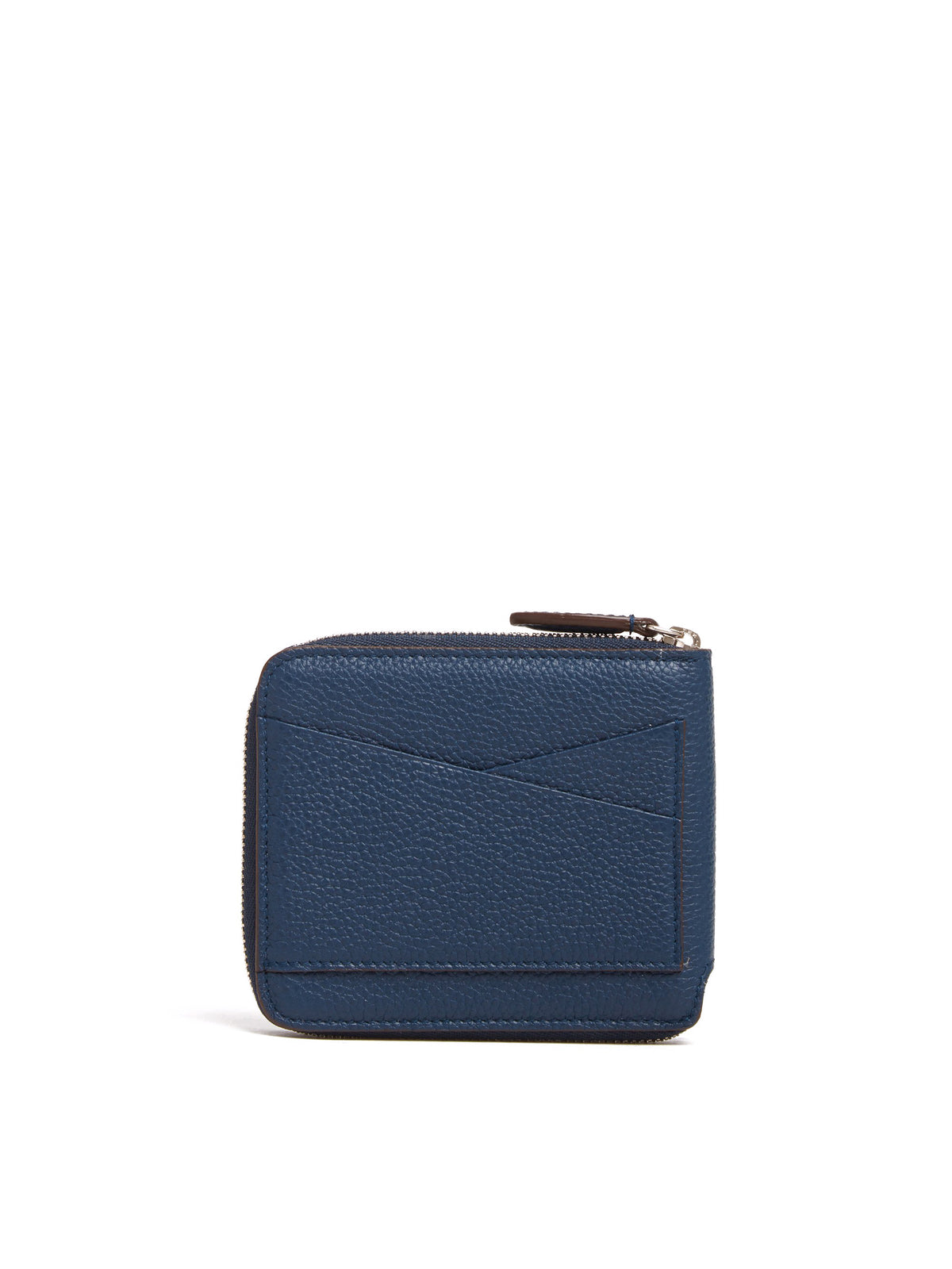 Mark Cross Bi-Fold Leather Zip Wallet Tumbled Grain Navy Back