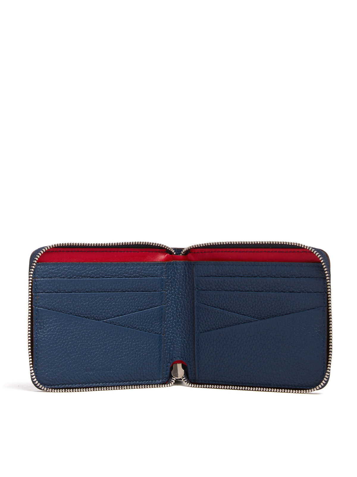 Mark Cross Bi-Fold Leather Zip Wallet Tumbled Grain Navy Interior