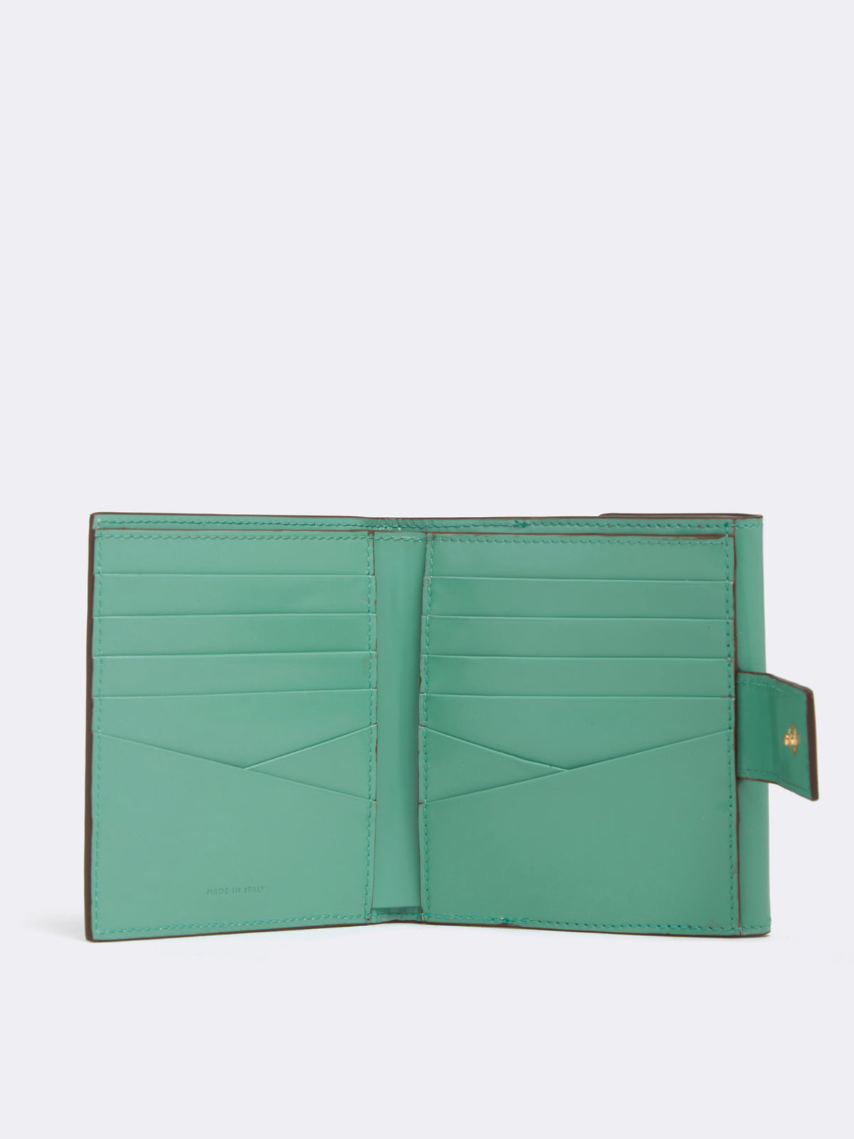 Mark Cross Hadley Leather French Wallet Brush Off Celadon Interior