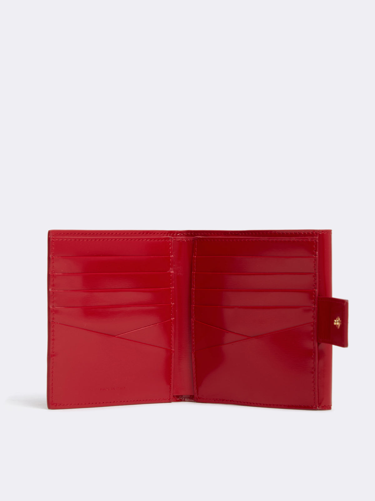 Mark Cross Hadley Leather French Wallet Brush Off Mc Red Interior