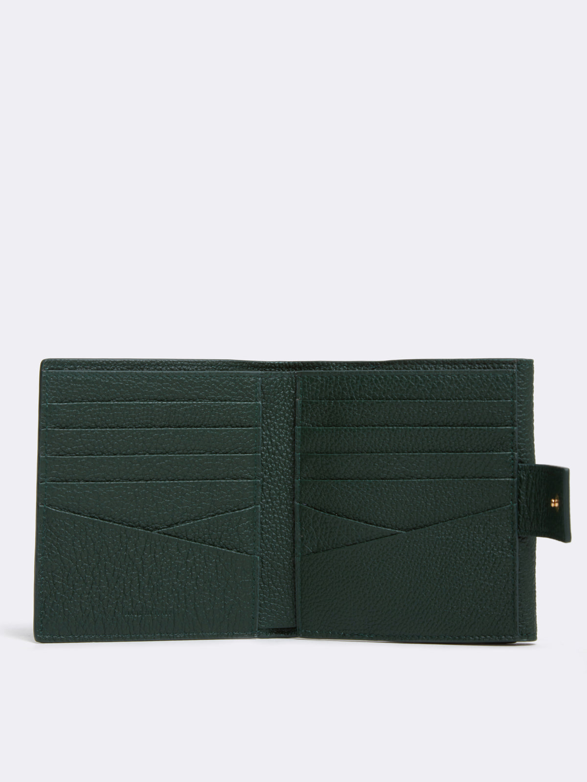 Mark Cross Hadley Leather French Wallet Tumbled Grain Evergreen Interior