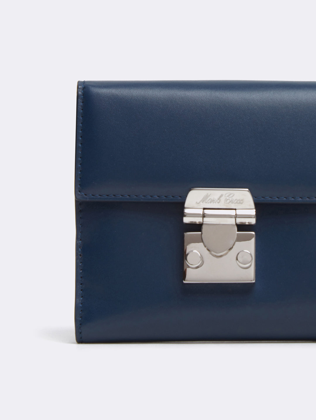 ark Cross Hadley Leather French Wallet Seta Box Navy Detail