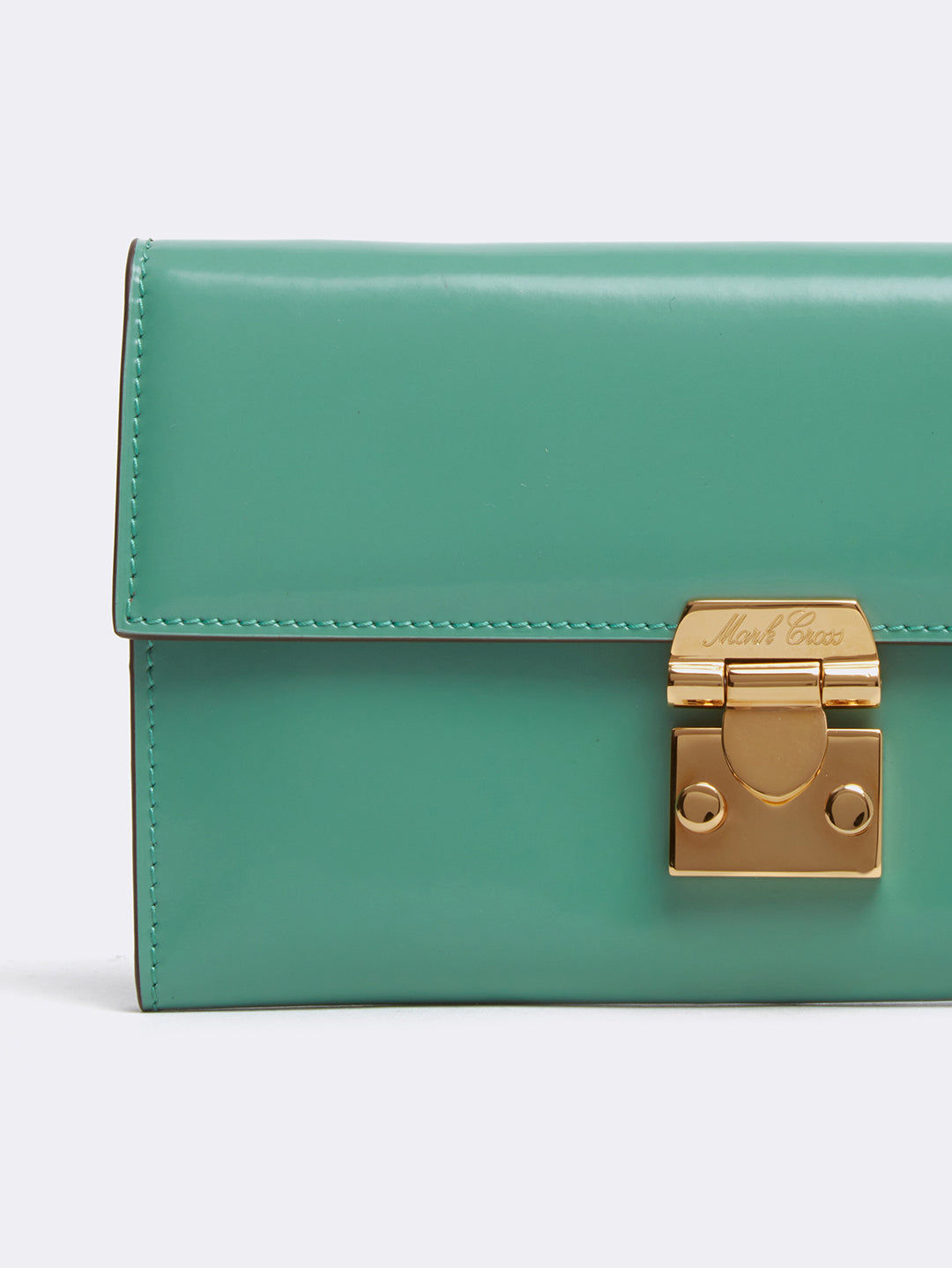 Mark Cross Hadley Leather Flap Wallet Brush Off Celadon Detail