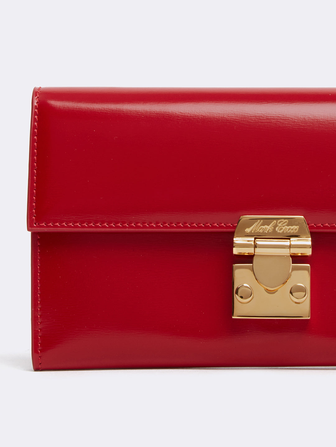 Mark Cross Hadley Leather Flap Wallet Brush Off Mc Red Detail