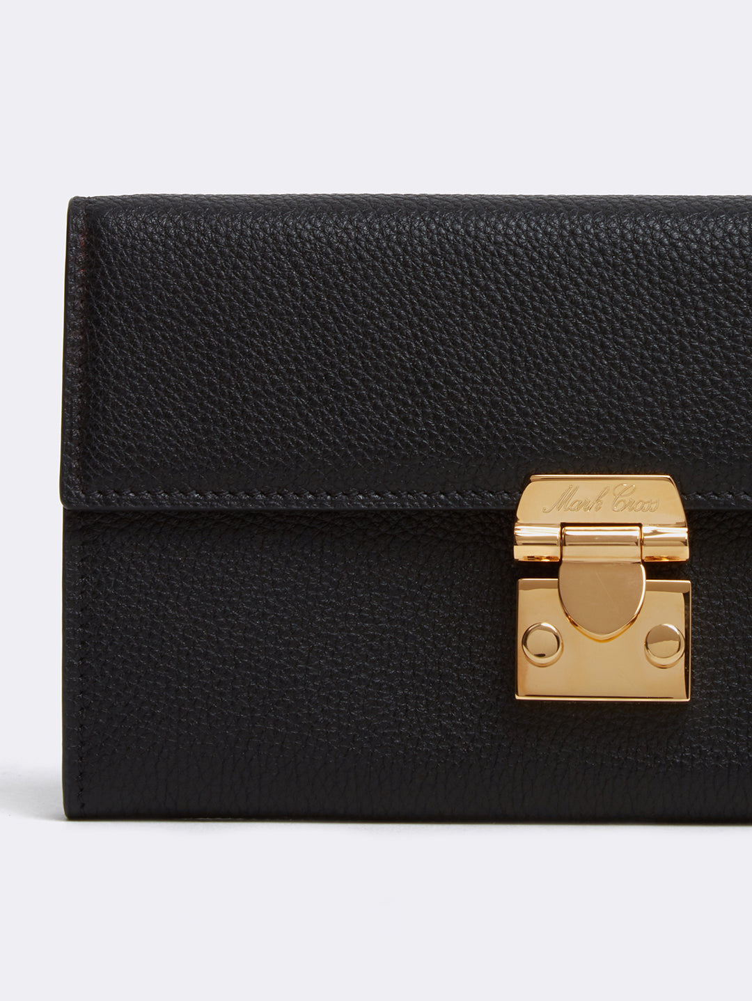 Mark Cross Hadley Leather Flap Wallet Tumbled Grain Black Detail