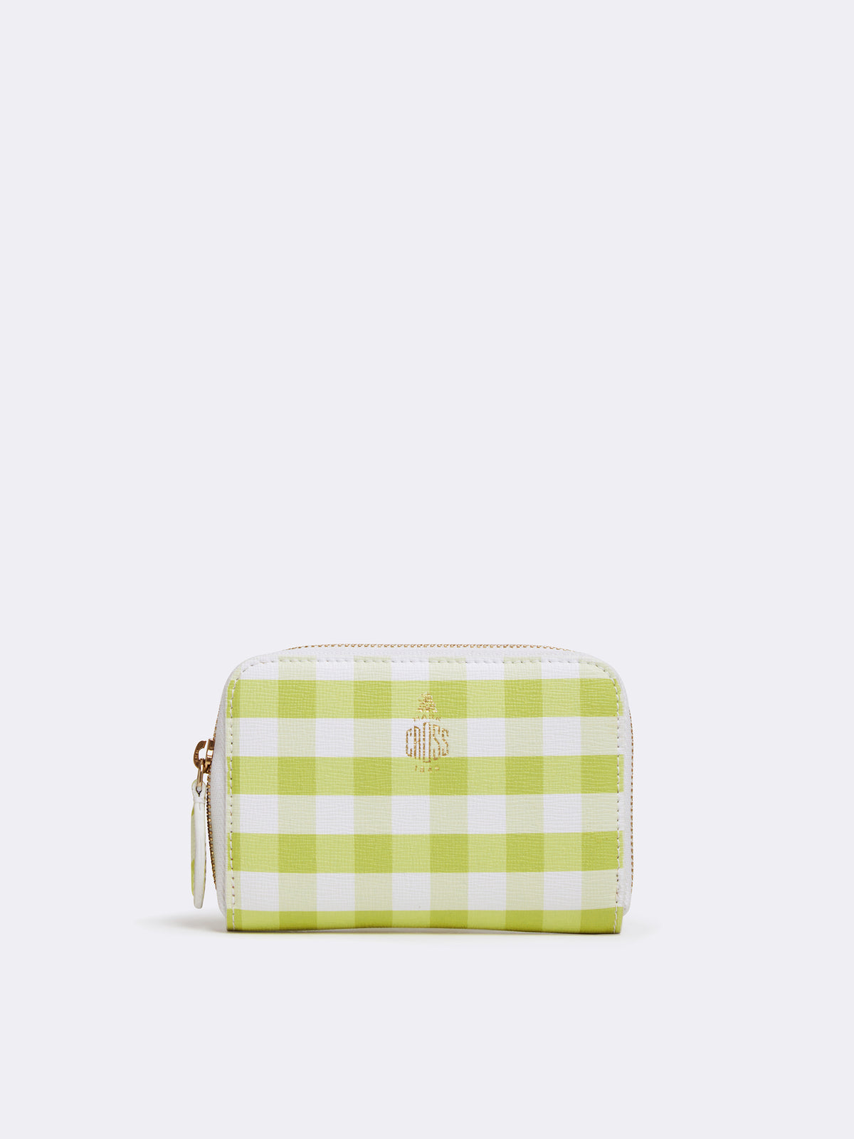 Mark Cross Zip Coin Pouch for Grace Belt Bag Mini Franzi Gingham Citron Front