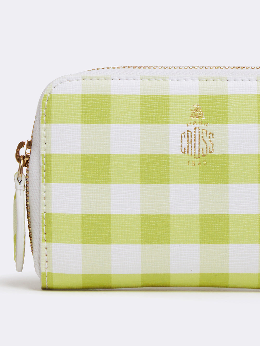 Mark Cross Zip Coin Pouch for Grace Belt Bag Mini Franzi Gingham Citron Detail