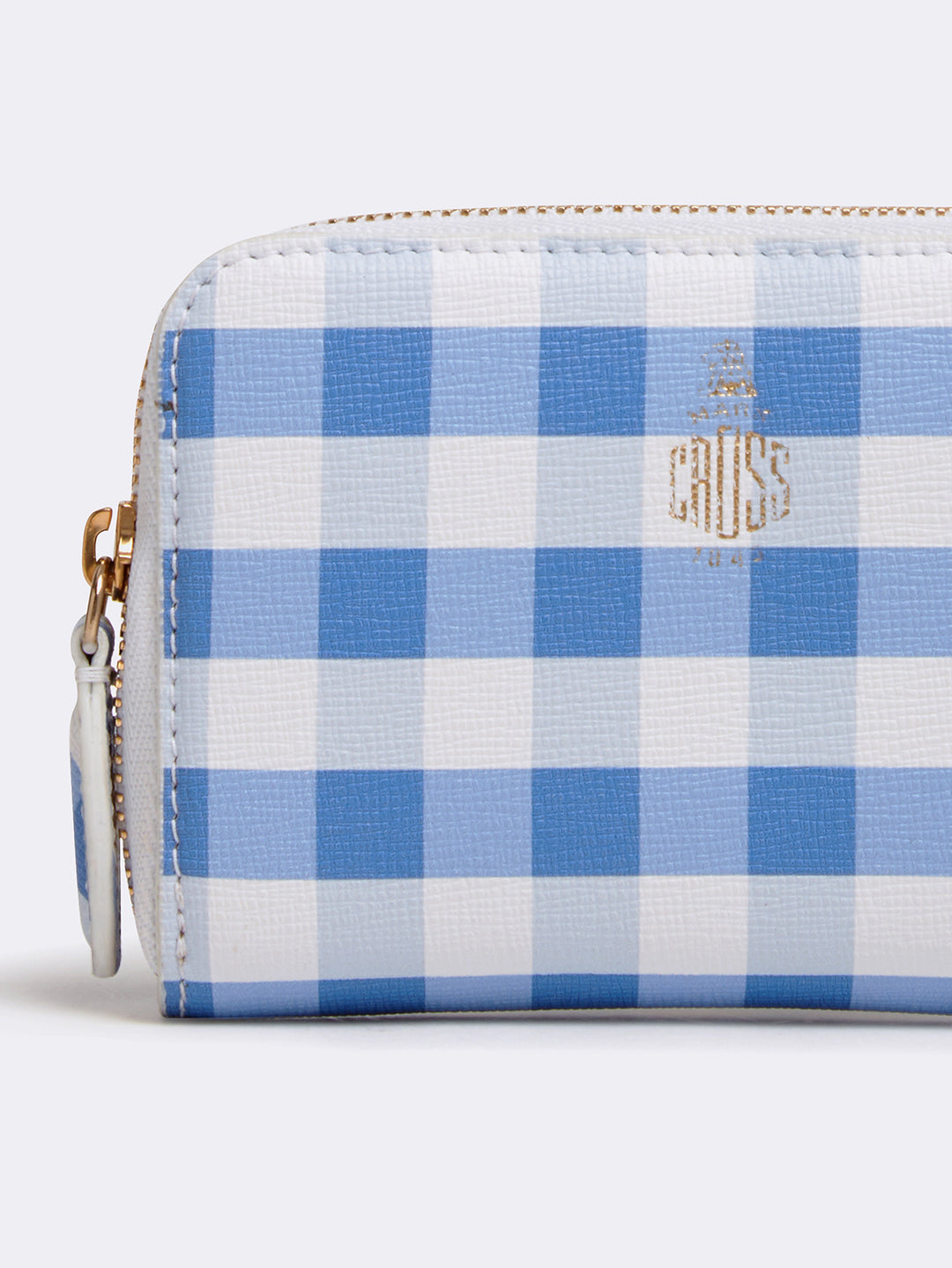 Mark Cross Zip Coin Pouch for Grace Belt Bag Mini Franzi Gingham Regatta Blue Detail