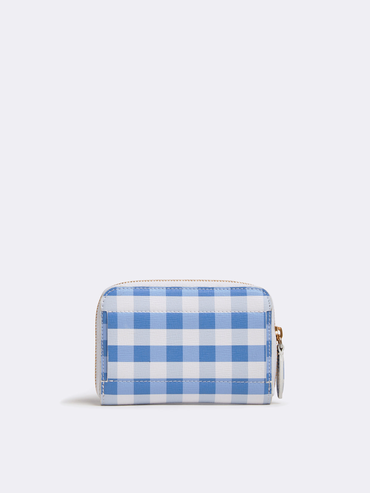 Mark Cross Zip Coin Pouch for Grace Belt Bag Mini Franzi Gingham Regatta Blue Back