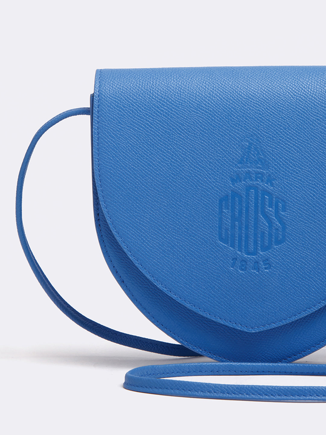 Mark Cross Dunes Leather Crossbody Bag Regatta Blue Detail