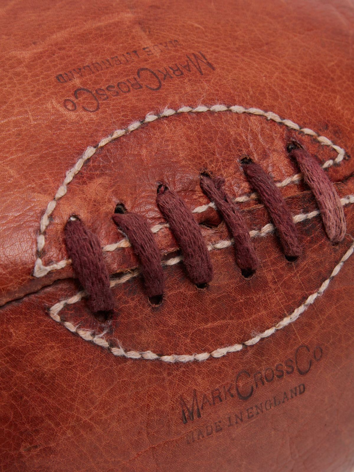 Mark Cross Archive Leather Rugby Ball Cognac Detail