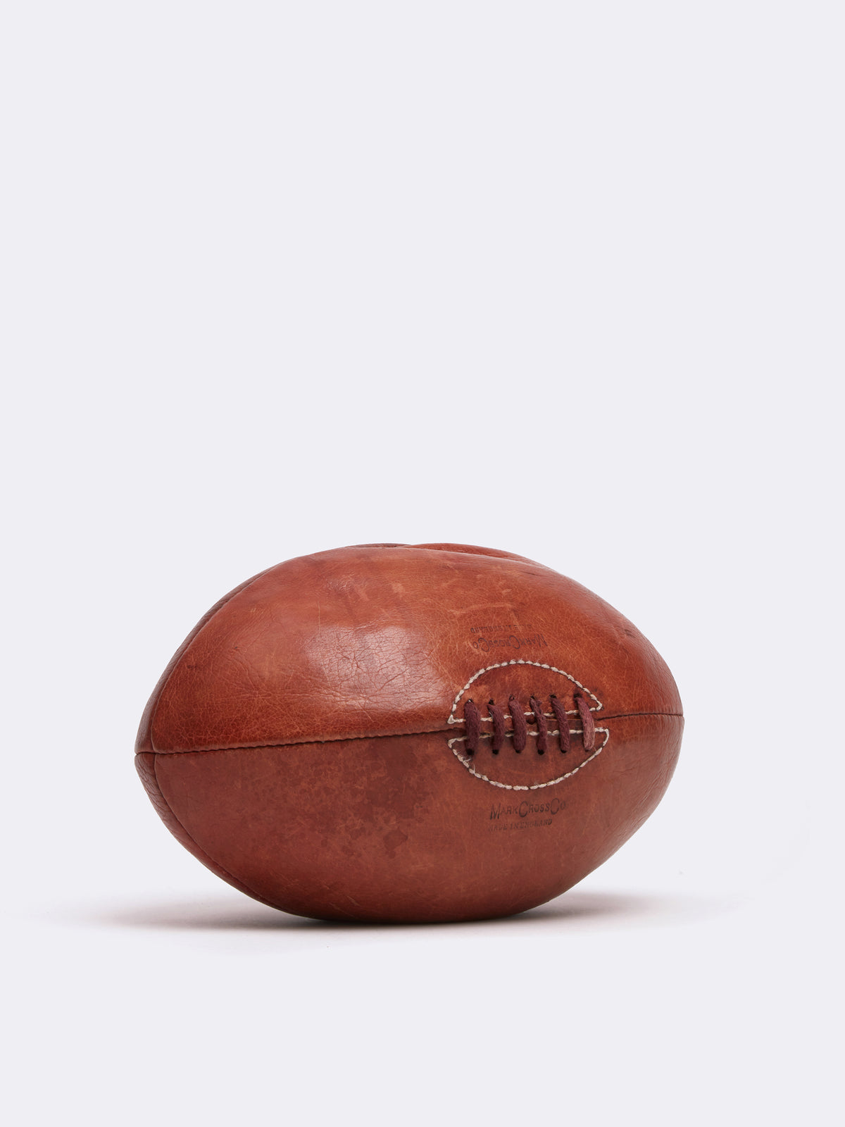 Mark Cross Archive Leather Rugby Ball Cognac Side