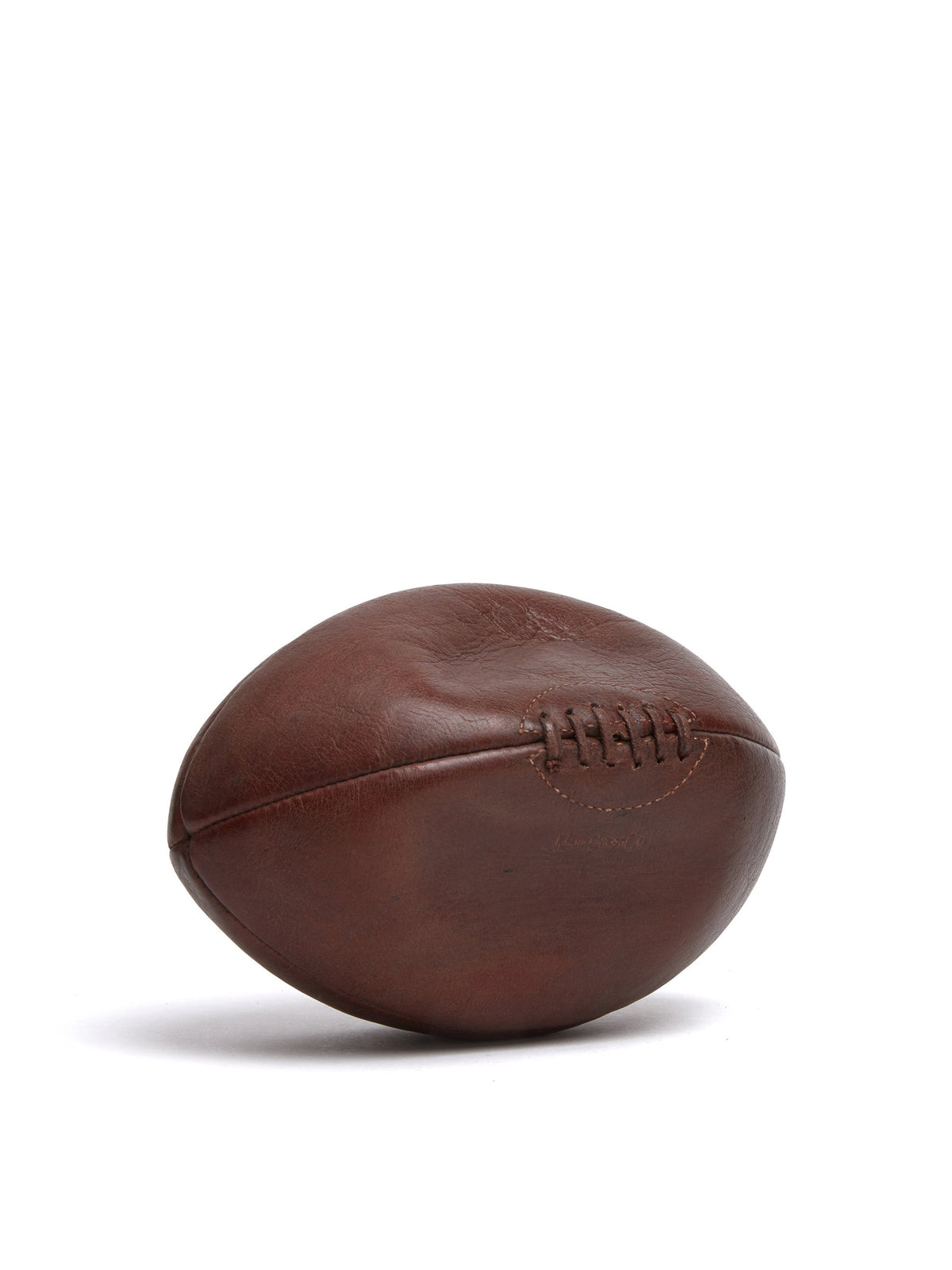 Mark Cross Vintage Leather Rugby Ball Chocolate Side