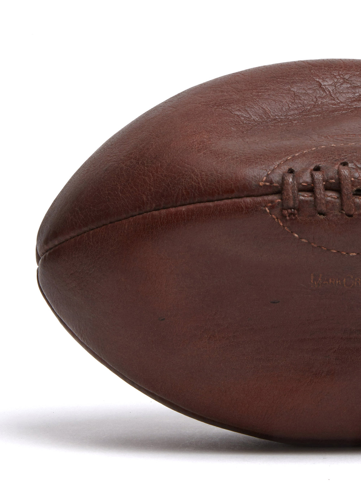 Mark Cross Vintage Leather Rugby Ball Chocolate Detail
