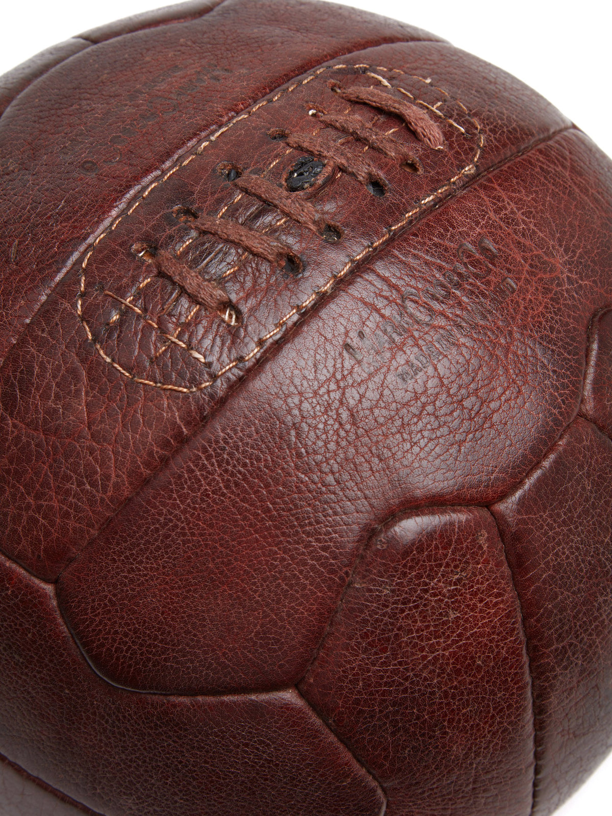 Mark Cross Vintage Leather Soccer Ball Chocolate Detail