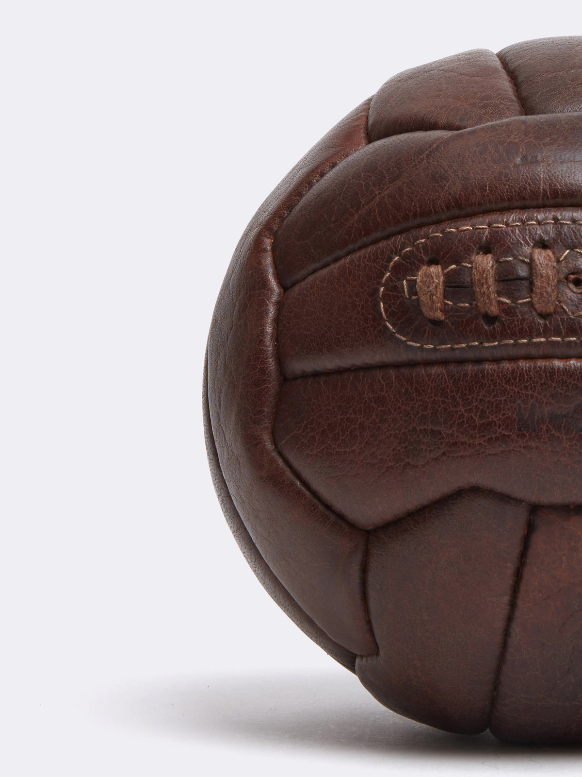 Mark Cross Archive Leather Soccer Ball Chocolate Detail