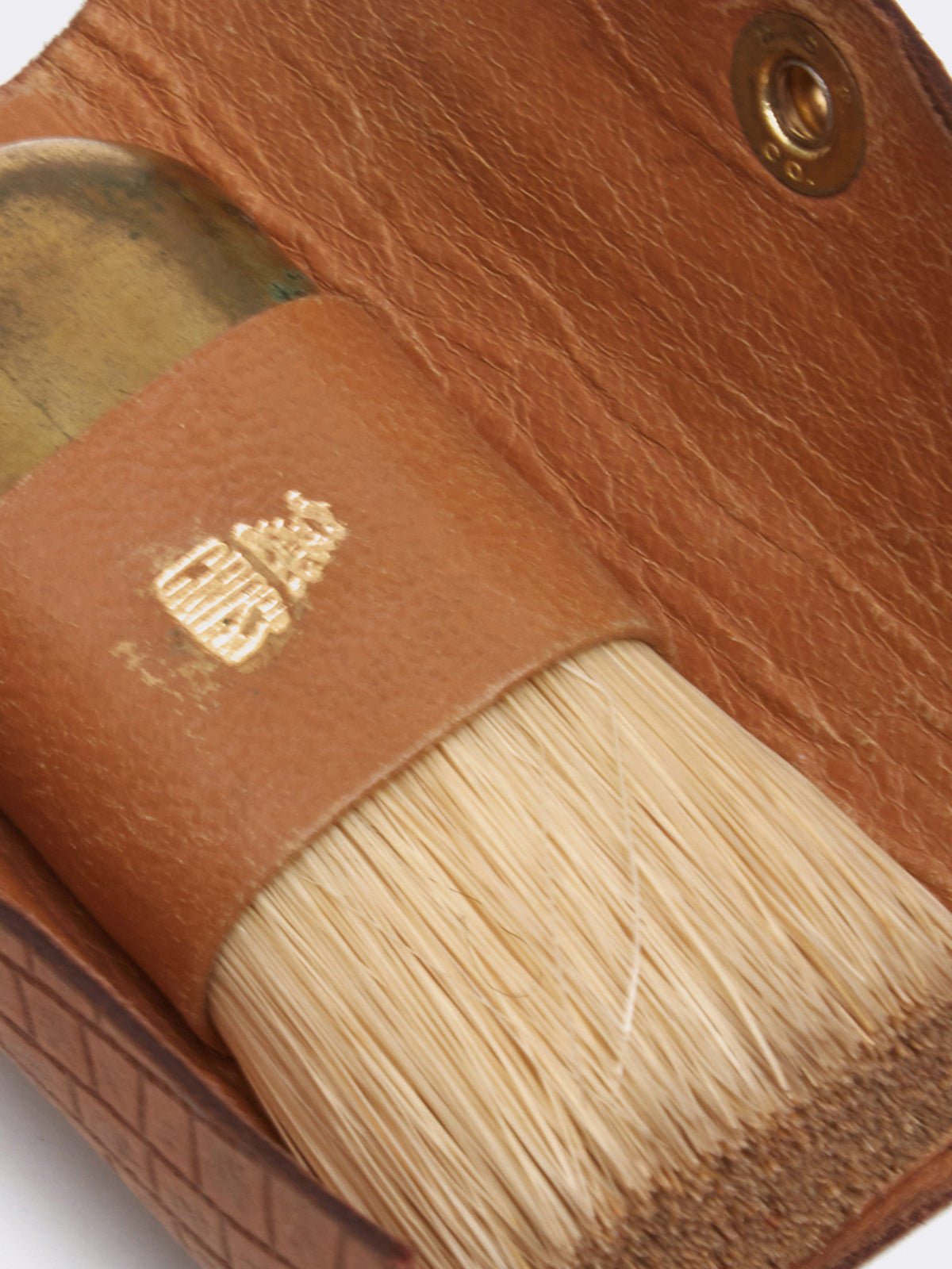 Mark Cross Archive Grooming Brush Cognac Detail