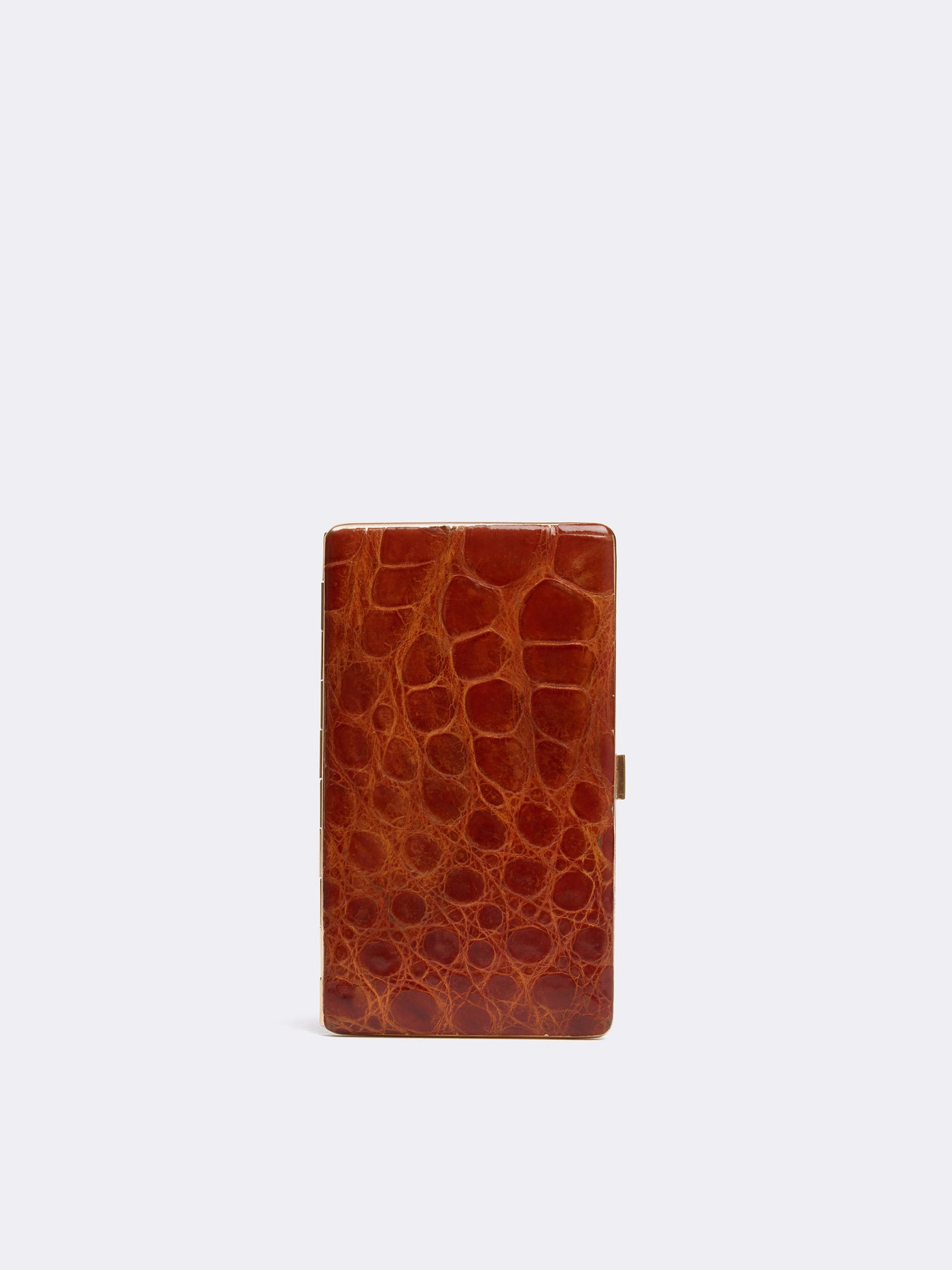 Mark Cross Archive Alligator Hard Sided Pocket Case Cognac Front