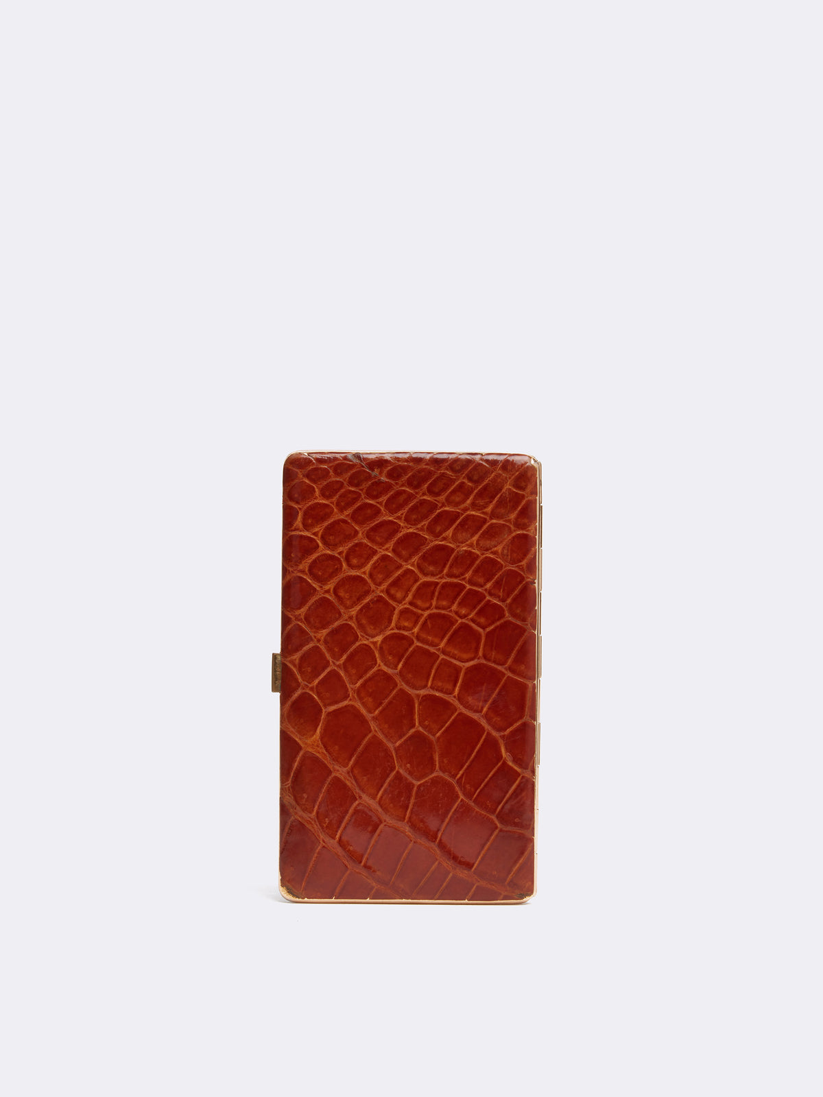 Mark Cross Archive Alligator Hard Sided Pocket Case Cognac Back