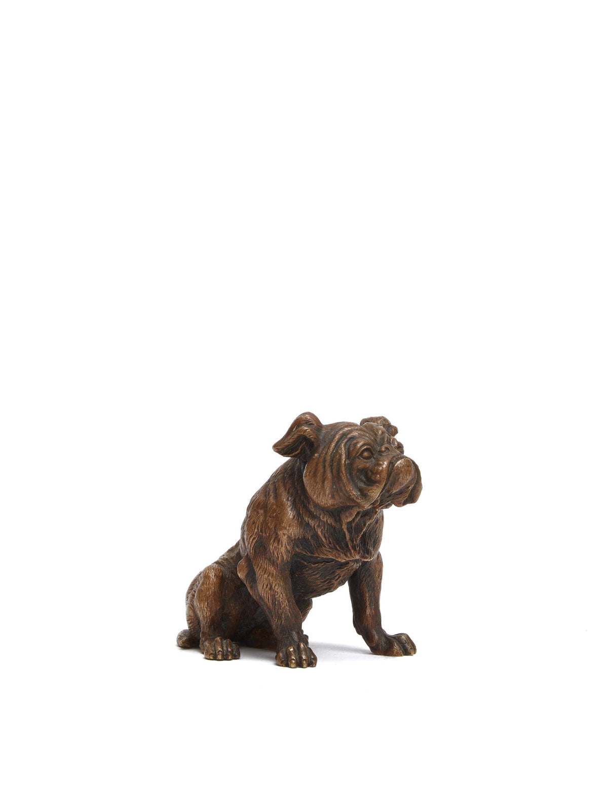 Mark Cross Vintage Bronze Bulldog Paperweight Bronze Side