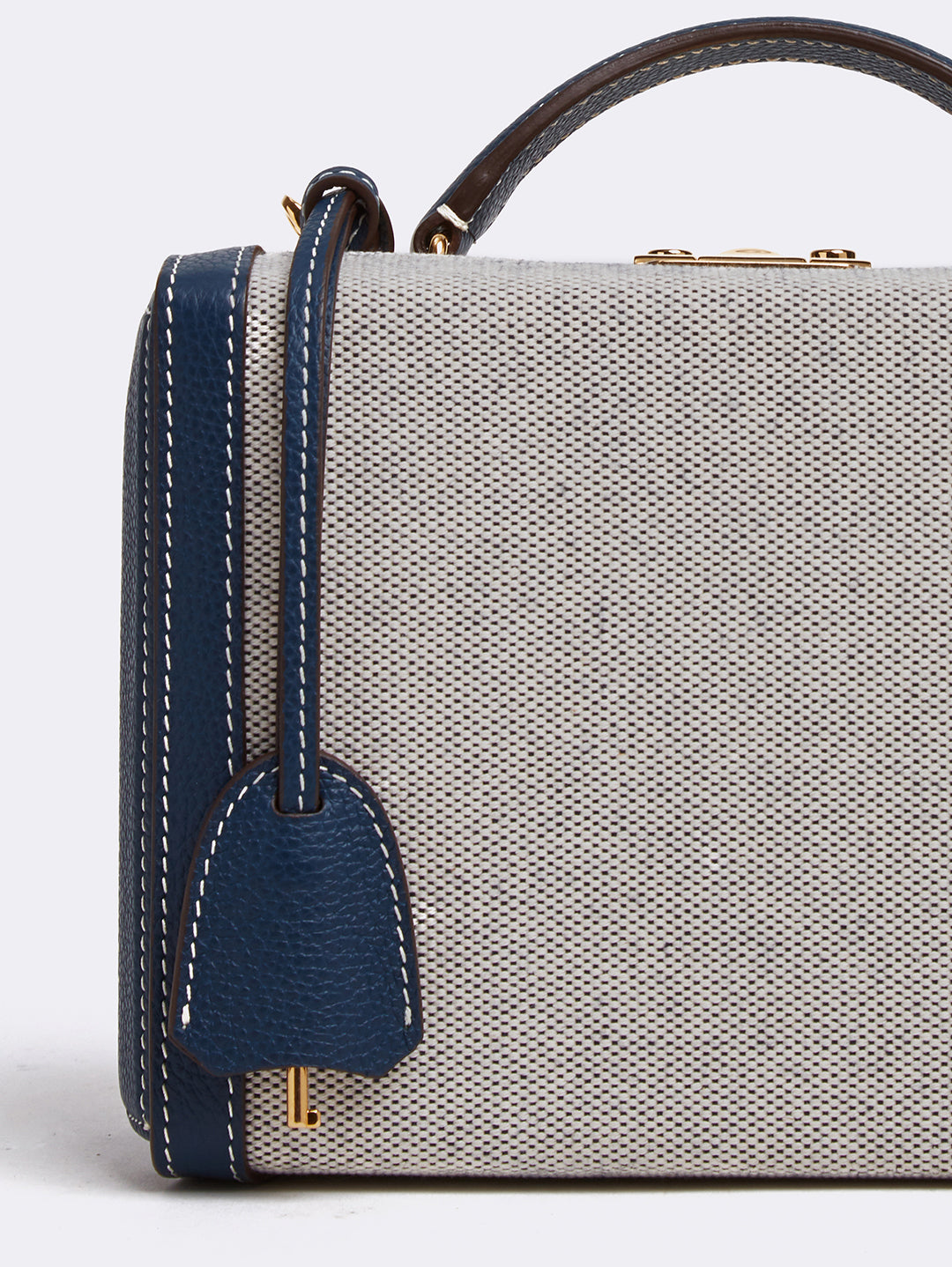 Mark Cross Grace Small Leather & Birdseye Box Bag Tumbled Grain Navy / Birdseye Detail
