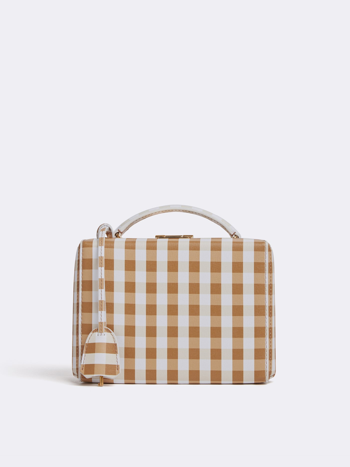 Mark Cross Grace Small Leather Box Bag Mini Franzi Gingham Luggage Front
