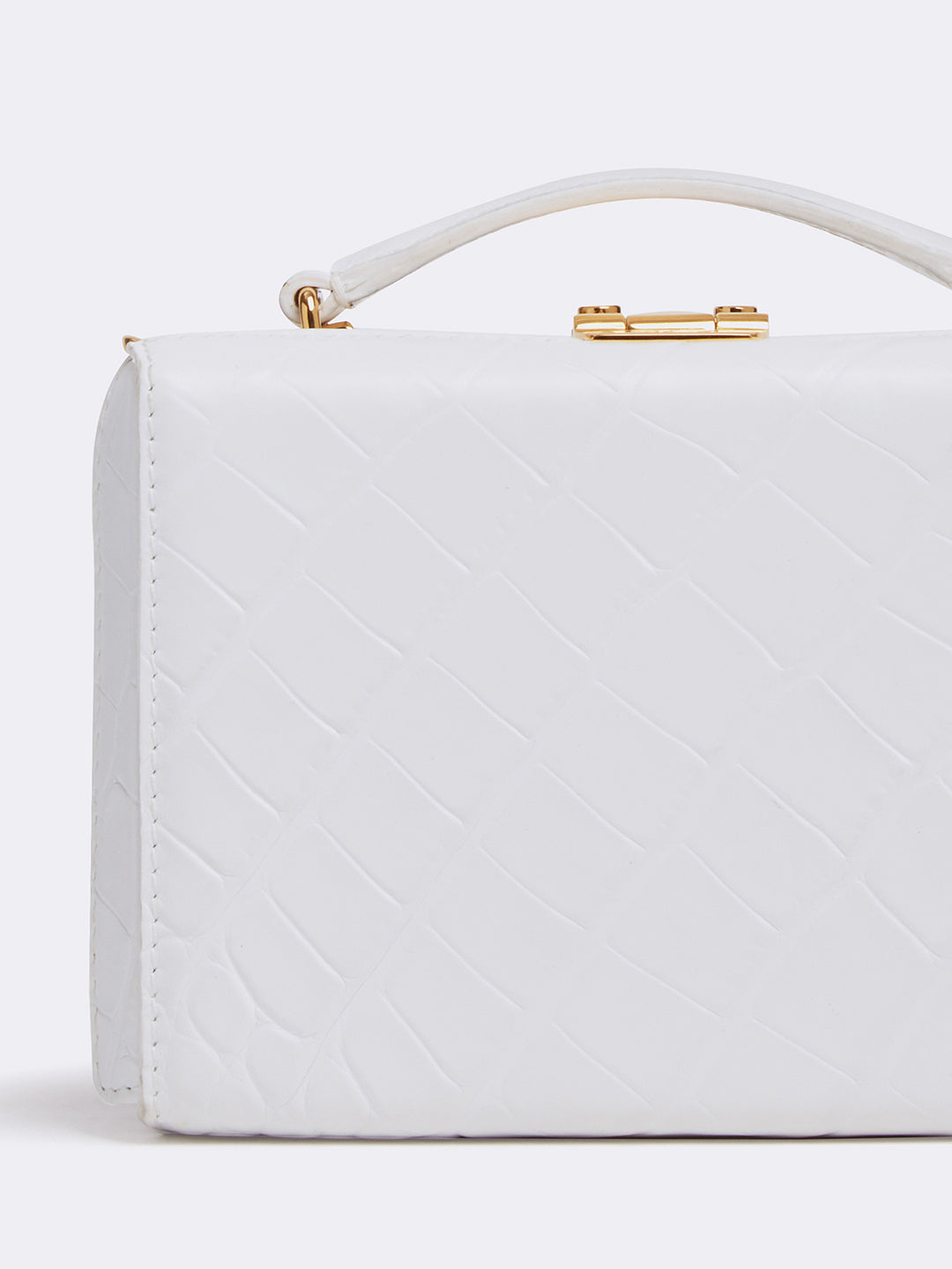 Mark Cross Grace Mini Leather Box Bag Crocodile Stamped White Detail