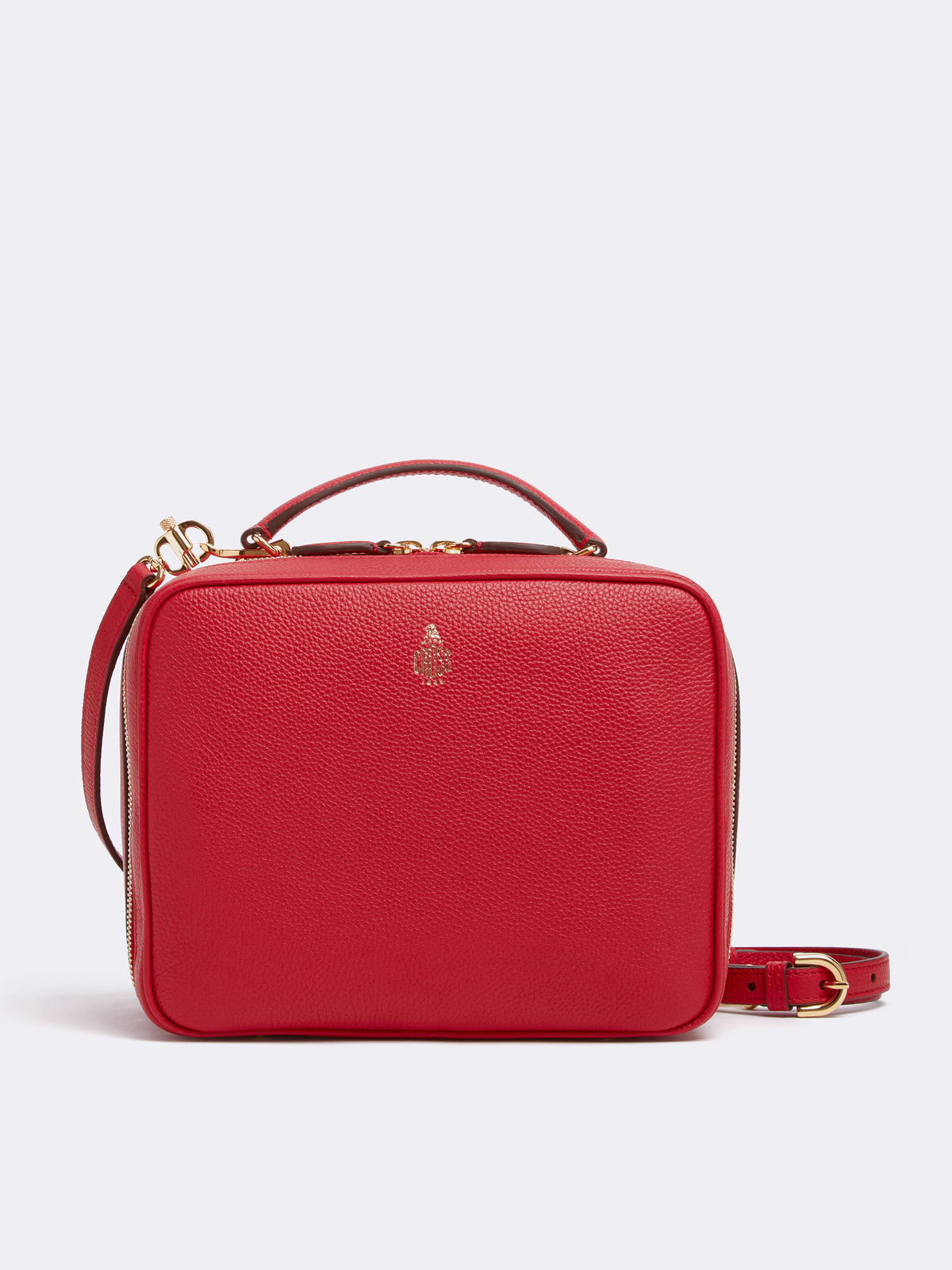 Mark Cross Laura Leather Crossbody Bag Tumbled Grain Mc Red Front
