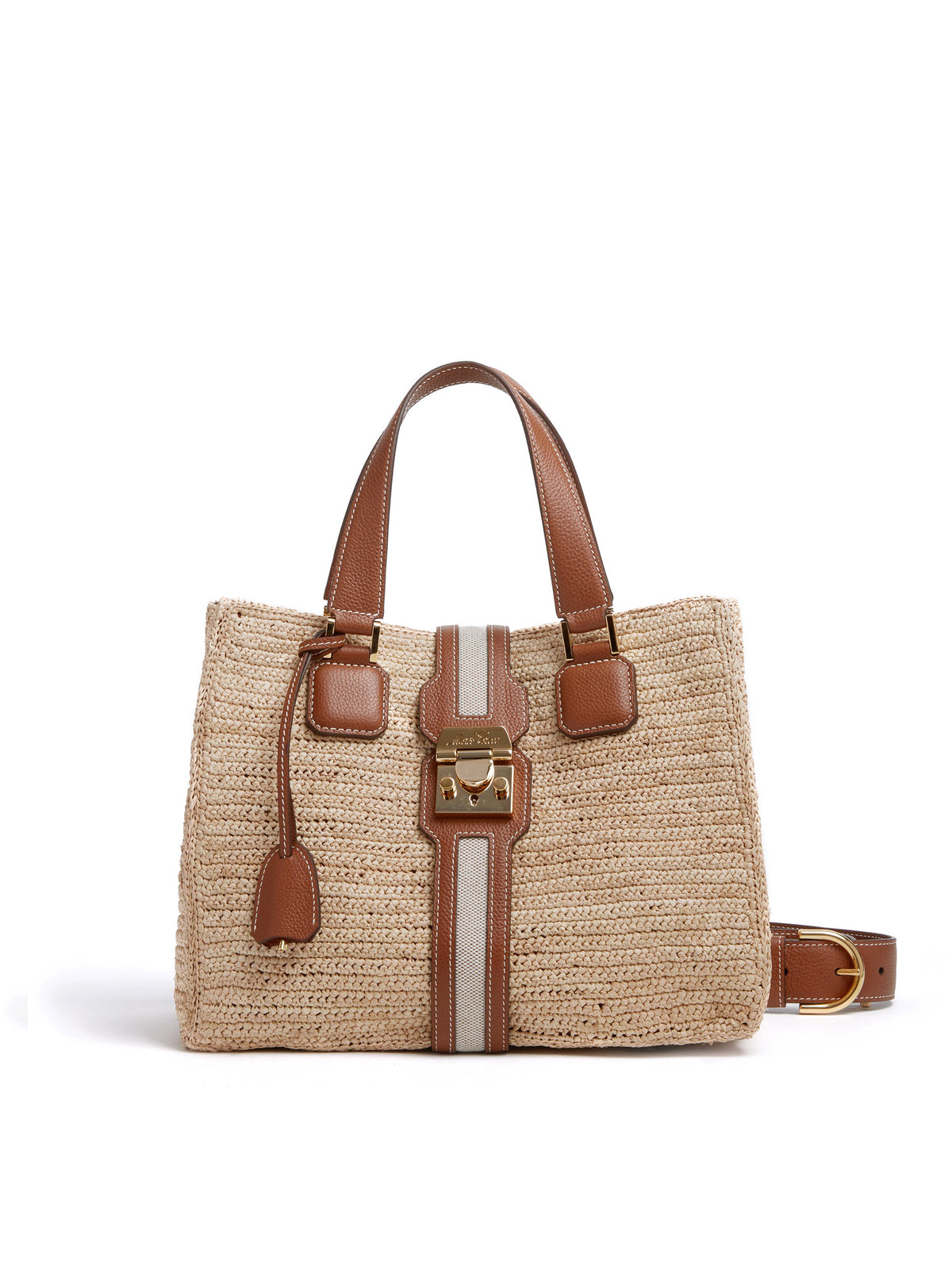 Mark Cross Riviera Raffia & Leather Tote Bag Tumbled Grain Acorn / Birdseye / Natural Raffia Front