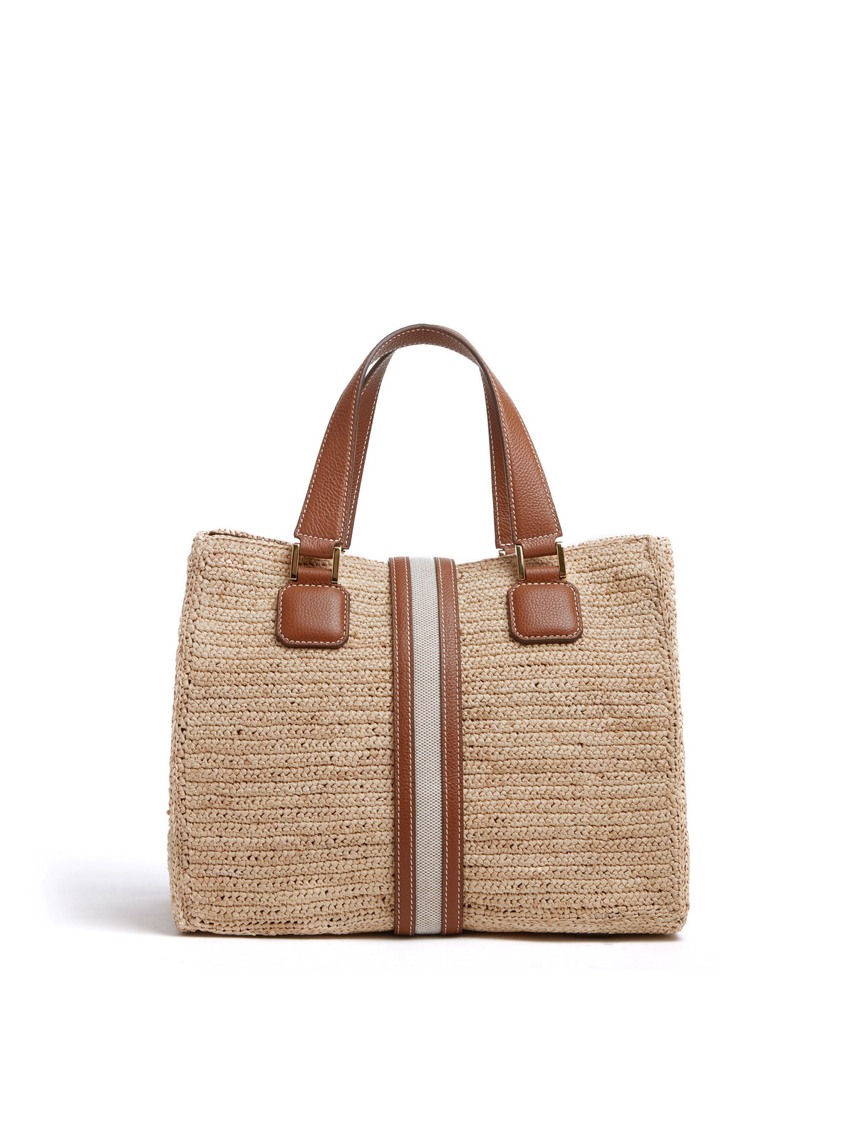 Mark Cross Riviera Raffia & Leather Tote Bag Tumbled Grain Acorn / Birdseye / Natural Raffia Back