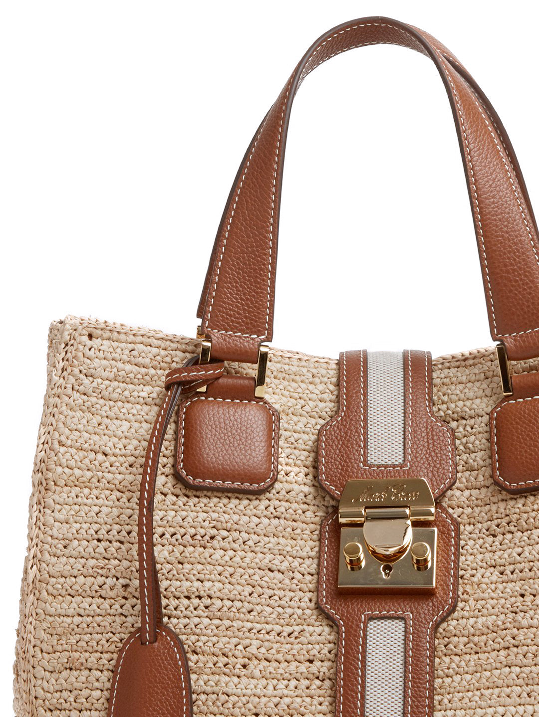 Mark Cross Riviera Raffia & Leather Tote Bag Tumbled Grain Acorn / Birdseye / Natural Raffia Detail
