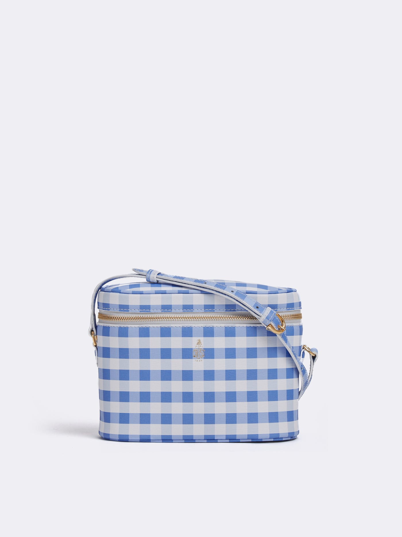 Mark Cross Ginny Leather Crossbody Bag Mini Franzi Gingham Regatta Blue Front